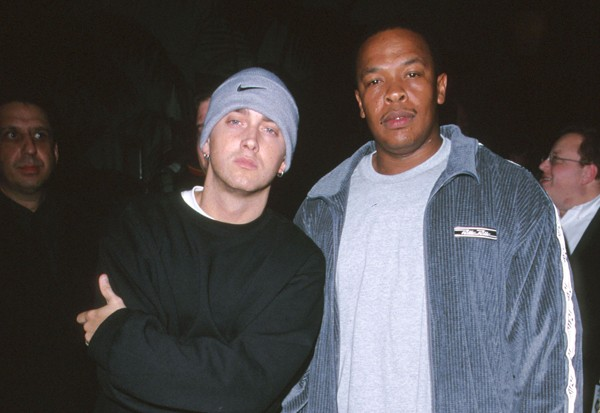 An old image of Eminem and Dre.