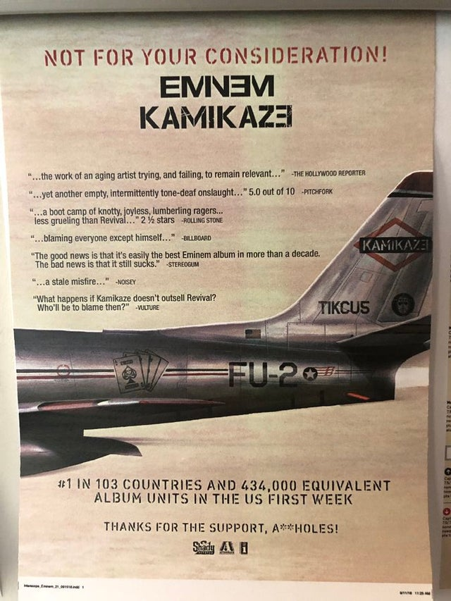"""The backside of the cover of Eminem's 2018 release """"Kamikaze"""""""